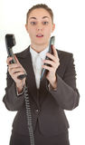 Emotional woman with a telephone Royalty Free Stock Photo