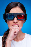 Emotional woman waiting 3d film Stock Photo