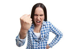 Emotional woman yelling Stock Photo