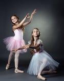 Emotional young ballerinas posing in studio Stock Photos