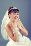 Emotional young bride Stock Photos