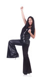 Emotional young woman in leather pants isolated on Royalty Free Stock Photo