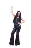 Emotional young woman in leather pants isolated on Stock Photography