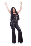 Emotional young woman in leather pants isolated on Stock Photos
