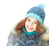 Emotional young woman in winter clothes, isolated on white backg Stock Photos