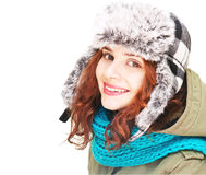 Emotional young woman in winter clothes, isolated on white backg Royalty Free Stock Images