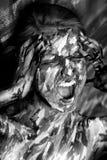 Emotionale Frau in den Farbenanschlägen Stockfotos