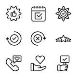 Emotionale Meinungs- und Checklistenlinie Ikonen verpacken vektor abbildung