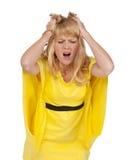 Emotionale schöne junge blonde Frau Lizenzfreies Stockbild