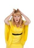 Emotionale schöne junge blonde Frau Stockbild