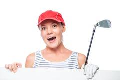 Emotionale Sportlerin, die ein weißes leeres Plakat hält Stockfotografie