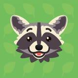 Emotionaler Kopf des Waschbären Vektorillustration des netten Waschbären zeigt glückliches Gefühl Hoffnung emoji Smiley-Ikone Dru stock abbildung