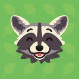 Emotionaler Kopf des Waschbären Vektorillustration des netten Waschbären zeigt glückliches Gefühl Lachen emoji Smiley-Ikone Druck stock abbildung