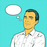 Emotionaler Reaktionsmannpop-arten-Comicsretrostil Der Mann, der an gutes etwas denkt Flirt hübsch Lizenzfreie Stockbilder