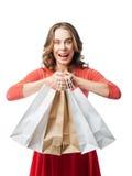 Emotionales Mädchen, welches das Einkaufen tut Stockfotografie