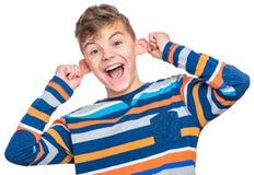 Emotionales Porträt des jugendlich Jungen Lizenzfreies Stockbild