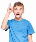 Emotionales Porträt des jugendlich Jungen Lizenzfreie Stockfotos