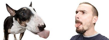 Emotionales Porträt eines Mannes und seines Bullterrierhundes, Konzept der Freundschaft und Sorgfalt des Mannes und des Tieres lizenzfreie stockbilder