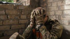 Emotionally stressed marine after hard combat