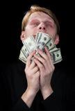 Emotioneel de man en het geld Stock Foto's