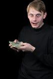 Emotioneel de man en het geld Stock Foto