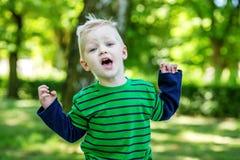 Emotioneel weinig jongen in het park 2-3 jaar kleuterscholen E royalty-vrije stock foto