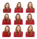 Emotionele aantrekkelijke maakt vastgesteld van het meisje dat gezichten op witte backg worden geïsoleerde Stock Afbeelding