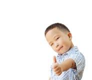 Emotionele Aziatische oude jongen 6 jaar, geïsoleerd op witte achtergrond Stock Afbeelding