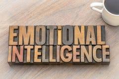 Emotionele intelligentie - woordsamenvatting in uitstekend houten type stock afbeelding