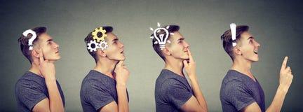 Emotionele intelligentie Zijaanzichtopeenvolging van een nadenkende mens, het denken, die oplossing met toestelmechanisme vinden, stock foto