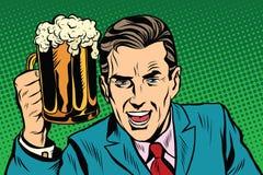 Emotionele uitstekende mens met bier vector illustratie
