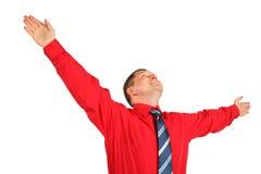 Emotionele volwassen mens met omhoog handen Stock Afbeelding