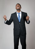 Emotionele zakenman die in hoop bidt stock fotografie