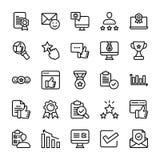 Emotionell åsikt- och kontrollistalinje symbolsuppsättning vektor illustrationer