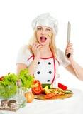 emotionell flicka för kock Royaltyfri Bild