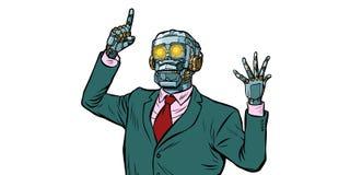 Emotionell högtalarerobot, diktatur av grejer Isolat på whi stock illustrationer