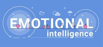 Emotionell illustration för intelligens-, känsla- och mental hälsabegreppsvektor Arkivfoton