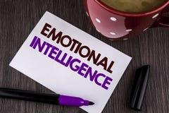 Emotionell intelligens för ordhandstiltext Affärsidé för att kapacitet ska kontrollera och att vara medvetent av personliga sinne arkivbilder