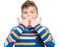 Emotionell stående av den tonåriga pojken Arkivbilder