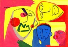 Emotionell utbildning vänder mot den färgrika illustrationen för uttryck stock illustrationer
