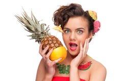emotionellt barn för gr-ananaskvinna Royaltyfri Fotografi