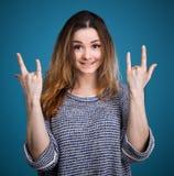 Emotionellt göra en gest för flicka Royaltyfri Foto