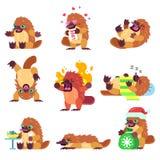 Emotionellt näbbdjurtecken - uppsättning stock illustrationer