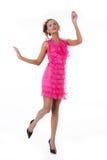 emotionellt rosa kvinnabarn för klänning Royaltyfria Foton
