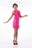 emotionellt rosa kvinnabarn för klänning Fotografering för Bildbyråer