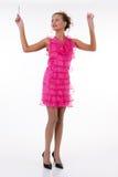emotionellt rosa kvinnabarn för klänning Arkivfoton