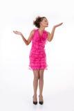 emotionellt rosa kvinnabarn för klänning Royaltyfri Foto
