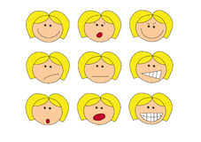 Emotions. Illustration of faces with different emotions, isolated on white Stock Photos