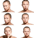 Emotions. Collage from six emotions close-up portraits of young man isolated on white Royalty Free Stock Photo