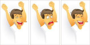 Emotions. Man showing 3 emotions- contentment, anger and joy Royalty Free Stock Photography